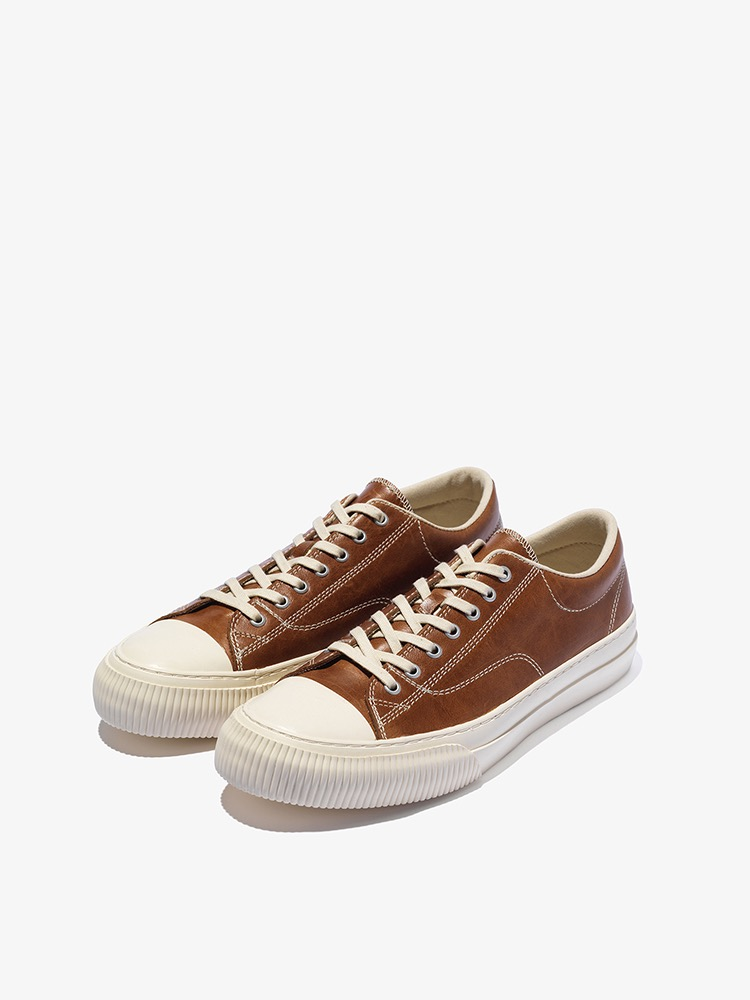 MILLITARY LEATHER LOW _ BROWN
